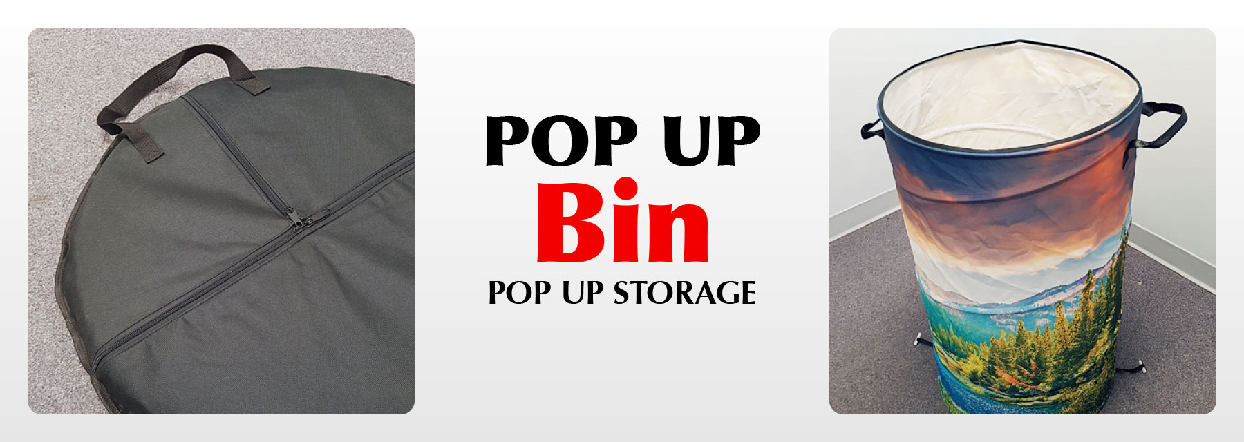 Pop up bin for storage